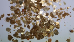 Mica Flakes, gold-copper, 1 - 7 mm