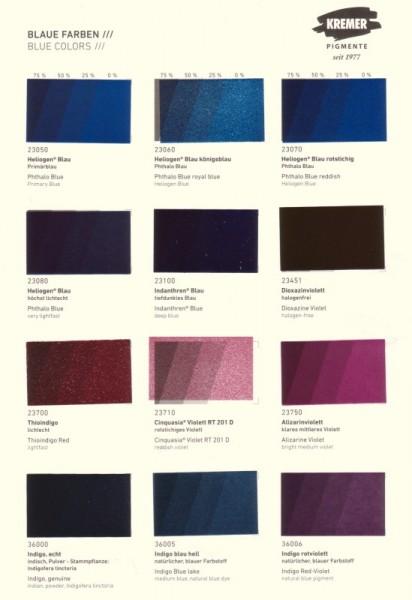 Color Chart Kremer Pigments Blue Colors Colour Charts Books