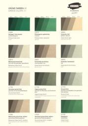Color Chart Kremer Pigments - Green pigments