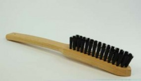 Brush with long handle, pig bristles, black, strong, 20 mm